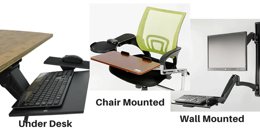Different Types of Keyboard Trays- Under Desk, Chair Mounted, and Wall Mounted