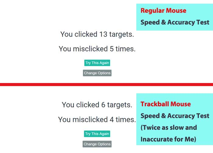 Regular Mouse versus Trackball Accuracy Test