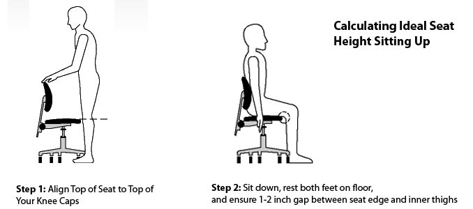Calculate Ideal Office Chair Height While Standing- Illustration Credits: OSHA