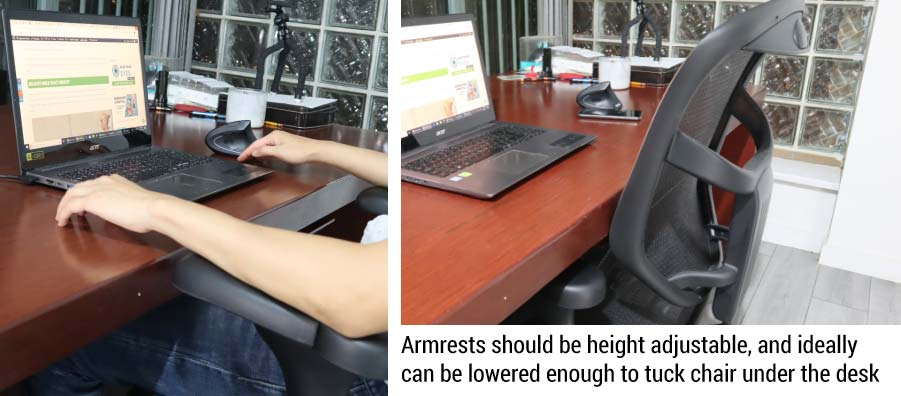 Armrests on an Ergonomic Chair
