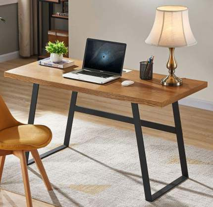 BON AUGURE Rustic Wood Computer Desk for Tall People