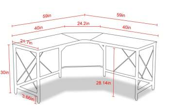 Mr IRONSTONE L-Shaped Desk Dimensions