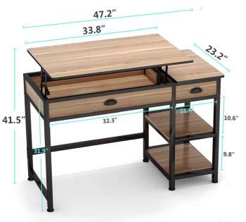 Tribesigns Rustic Lift Top Computer Desk Dimensions
