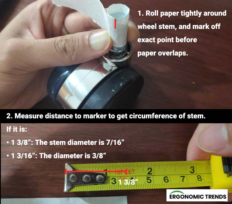 Two steps to calculating caster wheels stem size using a paper and ruler