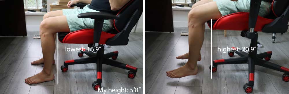 GTracing Chair seat height