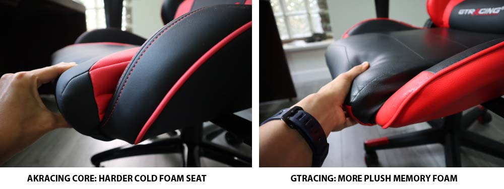 AKRacing Core Series Seat vs GTracing Gaming Chair Seat