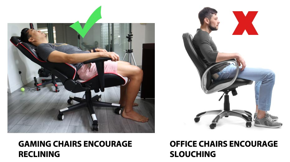 reclining vs slouching for back pain