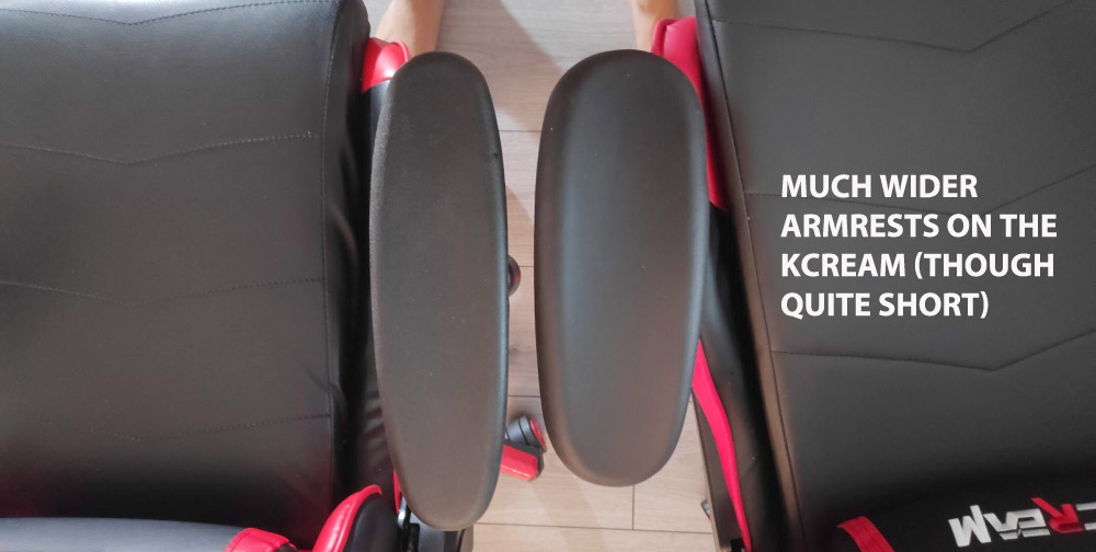 KCream gaming chair armrests size