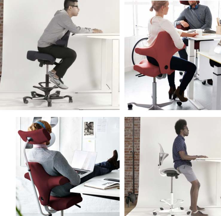 Different ways to sit on the HAG Capisco Chair