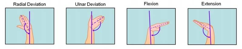 Common awkward repetitive motions of the wrist